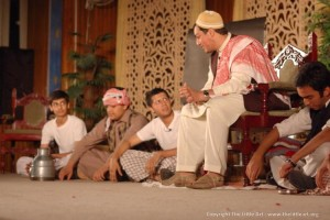 Moulvi Sahib instructing two students, during the play Taleem-i-Balighan. PHOTO: MUHAMMAD JAVAID